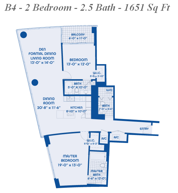 Blue miami condo floor plans for 4 unit condo plans