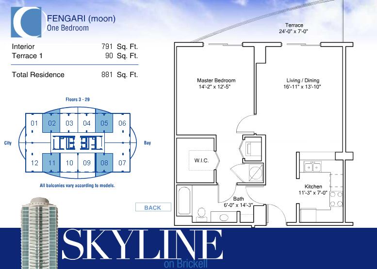Skyline on Brickell Condos for Sale Rent Floor Plans