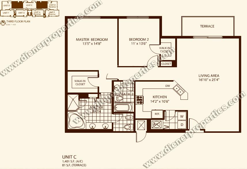 Villa zamora coral gables condo floor plans for Condo floor plans 2 bedroom