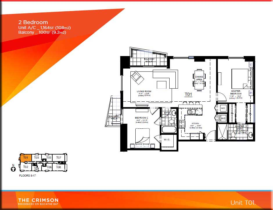 Crimson miami condo floor plans for Condo floor plan